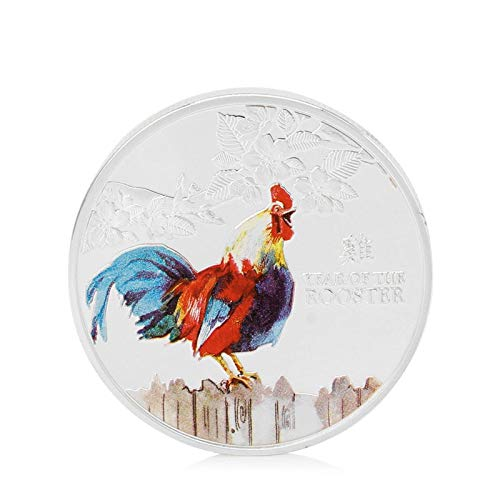 Metal Rooster Decor - Year Of The Rooster Elizabeth Ii Commemorative Coin Collection Collectible - Lucky Piglet Rooster Coin Rooster Coin Mickey Piglet Decor Coin Coin Rooster Audi Ii Feather Co