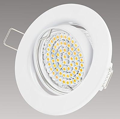 Einbaustrahler LED - Warmweiss Kaltweiss - GU10 3W 230V - Einbau Rahmen - Einbauspots, 6 Stück Einbauleuchten