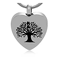 Epinki Silver Tree Of Life Memorial Ash Urn Necklace Stainless Steel Cremation Jewelry Pendant