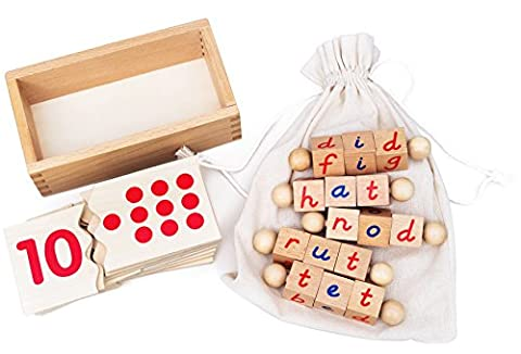 Kenley Reading Blocks & Numbers Jigsaw Puzzle - Montessori Materials Educational Learning Toys for Children 3 4 5 Years - ABC Alphabet Letter & Counting Number Wooden Game for Nursery & Reception