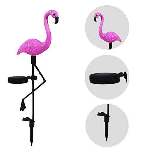 Solar-Flamingos, Solar Ground Spike Licht Mit Solar-Panel Freien Wasserdichte Garten Ornament Rasen Lampe Beleuchtung Wetter Beständig Für Balkon, Terasse Und Garten (3 Pack Standard-Kunststoff)