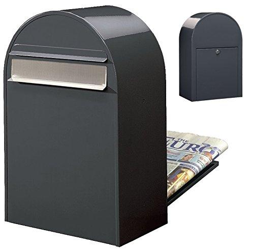 Bobi Classic B Briefkasten RAL 7016 grau, Klappe aus Edelstahl Zaunbriefkasten