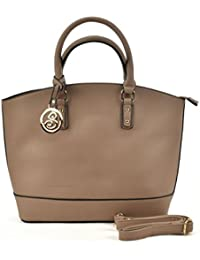 Sally Young Ladies Large Fashion Tote Bag Women Faux Leather Handbag Celebrity Style Oversized - Camel
