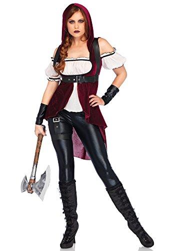 el Red Huntress Kostüm, Burgundy/Schwarz, Small (EUR 36) (Kapuzen-jägerin Halloween-kostüm)