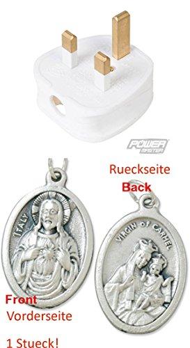 Sicherungsstecker, 13 A, 230 V, Weiß (929977654447) mit Anhänger Herz Jesu 2,5cm