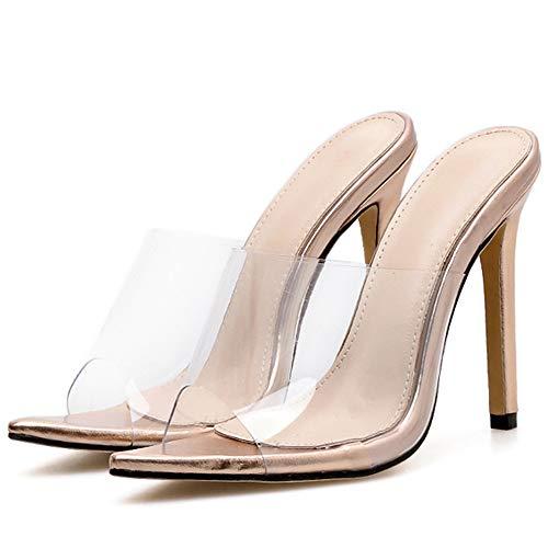 ALBOC Damen Sexy Slingback Pantoffeln Open Toe High Heel Büro Hochzeit Sandalen Pumps,Gold-EU40/250 Slingback Open Toe Pump