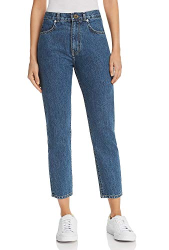 MONYRAY Damen Boyfriend Jeans Mom High Rise Tapered Fit Blau, 27