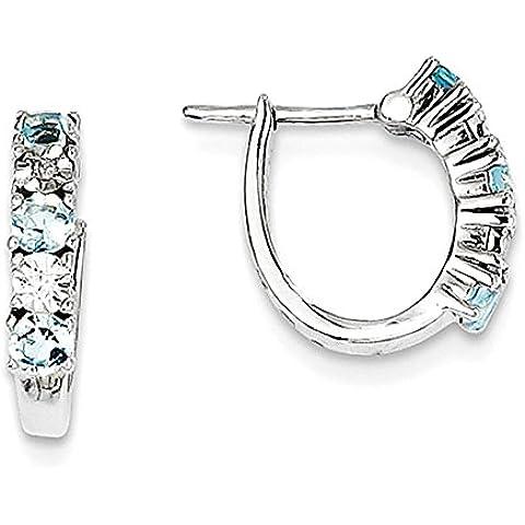 Sterling Silver Aquamarine & orecchini di diamanti