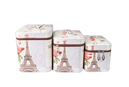 Valise Beauty Case Vintage Style Shabby Chic Bijoux coffres schmuckk ? stchen Mallette à maquillage Trousse, Set de 3 pièces. (25 x 16 x 19,5/22,5 x 14,5 x 16,5/20 x 12,5 x 14,5 cm), Paris-Flora (Multicolore) - 4251047811111