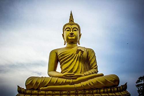 NA DIY Ölgemälde Farbe Nach Anzahl Kits Malerei Set Dekoration Geschenkegolden Buddha Statue. Buddhismus 16 * 20 Zoll Leinen Leinwand Leinwand Wandkunst Kunstwerk Acrylsäure Malerei
