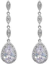 EVER FAITH® Zirkonia CZ lang Anhänger Ohrhänger elegant Ohrringe Silber-Ton N06733-1