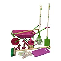 Little Pals Childrens Garden Set with Pink Wheelbarrow and Watering Can Kit with Garden Rake, Leaf Rake, Spade, Broom, Hand Tools, Kneeler, Gloves