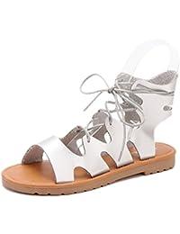 ZHZNVX Nuove scarpe basse grandi sandali con cinturini incrociati Scarpe da  donna romane da835a0f27f