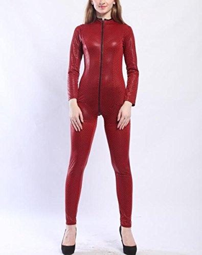DuuoZy Frauen PU-Leder-reizvolle Schlangehaut druckt Reißverschluss vorne offenen Schritt Catsuit Wetlook Night Club Wear , red , m