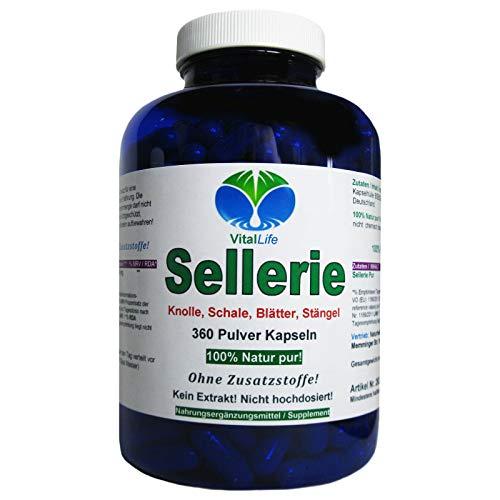 Sellerie 360 Pulver Kapseln Natur pur NICHT hochdosiert KEIN Extrakt OHNE Zusatzstoffe OHNE Füllstoffe....