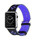 gersymi Apple Watch Dragonne Nike + Series 1Series 2Series 3, sportif silicone remplacement Sport Wristband Bracelet de poignet pour iwatch Nike Sport Band Strap M/L (42mm, Black/Yellow, Black-blue, 42MM