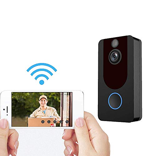 Jackcer Wireless Video-Türklingel-1080P WiFi Videokamera 140 ° Weitwinkel-Überwachung Alarm Zwei-Wege-Audio-Video-Türklingel für Home Apartments mit Telefon-Apps