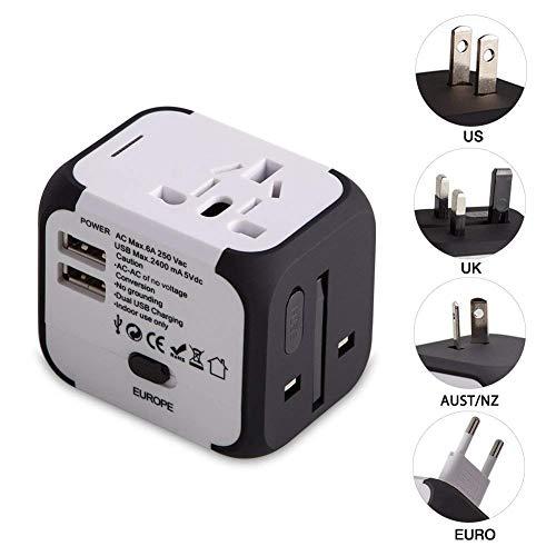 UPPEL Reiseadapter, Universal Stromadapter Steckdosenadapter, Reisestecker mit Doppel USB-Ports für Europa UK AUS USA CN Universal fusionierten Sicherheit AC-in Einem Ladegerät (Weiß) - Reise-adapter