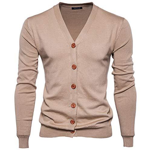 Preisvergleich Produktbild Swallowuk Herren Strickjacke Vintage Herbst Winter Warm Slim Fit Strickpullover Männer Jacke Mantel Open Cardigan V-Ausschnitt Sweatshirt Outwear Knitwear (XXL, Khaki)