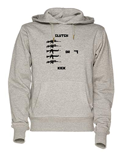Jergley Clutch Or Kick Unisex Grau Sweatshirt Kapuzenpullover Herren Damen Größe S | Unisex Sweatshirt Hoodie for Men and Women Size S (Mlg Gaming-hoodie)
