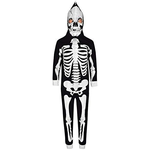 Mädchen Jungen Designer Skelett Aufdruck - Skeleton Onesie. Black_White 9-10 ()