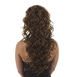 Hair By MissTresses Extensions de cheveux longs bouclés Demi Perruque Postiche, Coco Marron