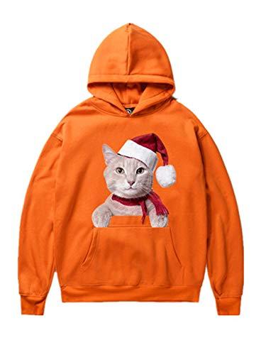 (Legogo Herren Weihnachtsentwürfe mit Kapuze Verdicken Freizeit und Mode Weihnachten Sweatershirt(L,orange))