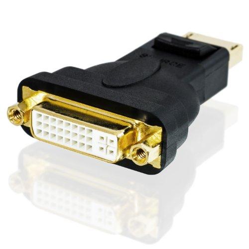 CSL - Adaptador de DisplayPort (DP) a DVI Full HD 1080p Premium | Certificado | Contactos bañados en oro de 24 ct | Tarjetas gráficas / Apple y