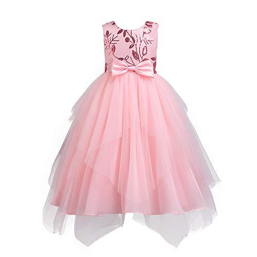 Lazzboy Karneval Tutu Kleid Kleidung Kind Mädchen Spitze Bowknot Prinzessin Wedding Performance (Höhe 140,Rosa) (Prinzessin Einhorn Kostüm Hund)