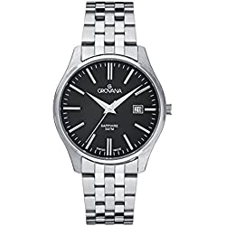 GROVANA 1568.1137 Men's Quartz Swiss Watch with Black Dial Analogue Display and Silver Stainless Steel Bracelet