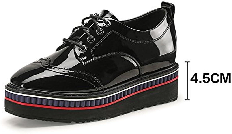 PENGFEI Botines Zapatos Primavera Antideslizante Suelas Gruesas con Cordones Respirable Cabeza Cuadrada De Las...