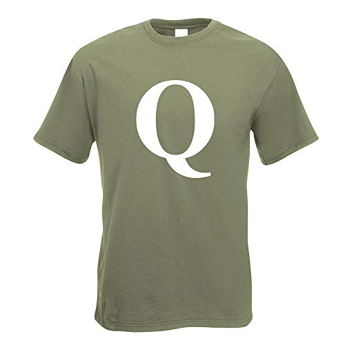 Kiwistar Buchstabe Q - Alphabet T-Shirt Motiv Bedruckt Funshirt Design Print - Alphabet Olive