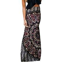Theshy Falda Maxi de Verano para Mujer, Estilo Retro Retro, Floral Boho Tribal Playa