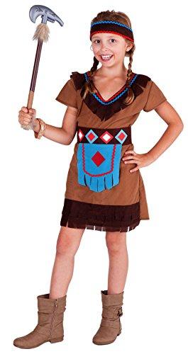 Mädchen Braun Kostüm - Magicoo Indianer Kostüm Kinder Mädchen mit Kopfschmuck - Indianerin Kostüm Kinder braun-türkis-rot Karneval (110/116)