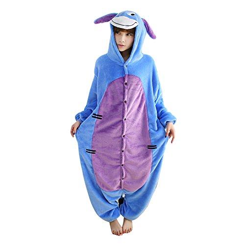 Janecrafts Tier Onesie Pyjama Kostüme Schlafanzug Erwachsene Unisex Tieroutfit tierkostüme Jumpsuit (S, Eeyore Esel)