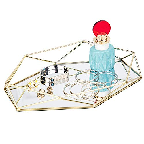 GNSDA Reich Verziertes Tablett,Make-up-Schmuck-Organizer, Aufbewahrungsbox für geometrischen und messingbeschichteten Schmuck, kosmetische Schmuckschatulle in mattem, einfachem Stil, Eitelkeit (Doppelte Bad Eitelkeit)