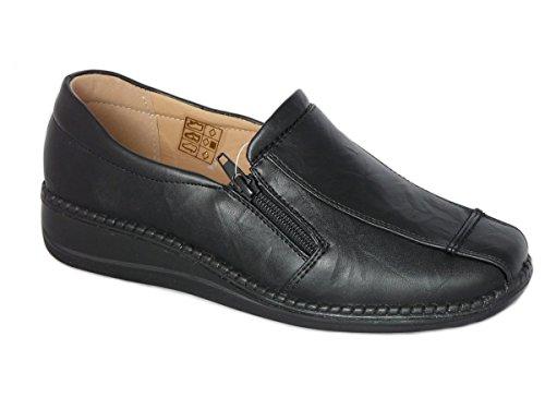 Cushion Walk Women's Ladies Lightweight Black Faux Leather Slip-on Flat Zip Shoes,...