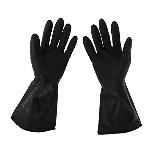 F Fityle 1 Paar Gummihandschuhe Nitrilkautschuk Arbeitshandschuhe -Chemische Beständigkeit und schnittfest Fünf-Finger-Handschuhe - Schwarz - M - Aus Gummi Garten-handschuhe
