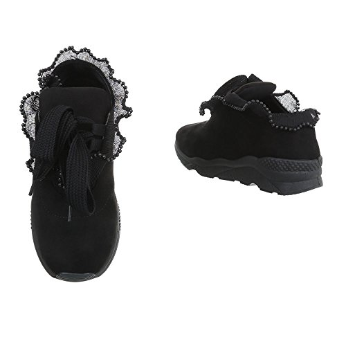 Sneaker Low Scarpe Design Ital Sneakers Nero Donna da Piatto v7OIPq