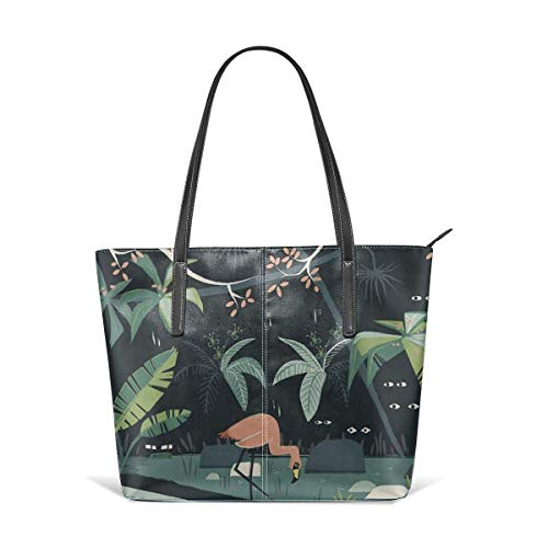 XGBags Custom Soft Leather Nightshade Jungle Leather Zipper Tote Ladies Shoulder Bag Shoulder Bag For Travel Shopping Tote Umhängetaschen