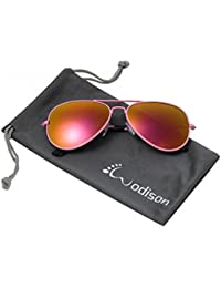 WODISON Metallrahmen polarisierte Reflex verspiegelten Sonnenbrillen für Frauen (Rosa) KlxV7