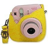 Cartoon Étui/Couverture/Housse/Case/Photo sac d'appareil de protection en Cuir PU Style Leather Case avec sangle réglable pour Fujifilm Instax Mini 8 - Jaune
