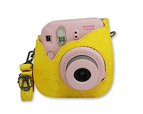 DSstyles Étui d'appareil photo pour Fujifilm Instax Mini 8 PU Sac photo cuir Cute Cartoon caméra protection affaire sac à bandoulière - jaune