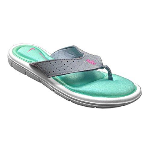 Nouveau Nike Comfort Thong Rose / Ladies bleu 5 Wolf Grey/Light Aqua/White/Pink Pow