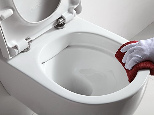 Design Hänge WC Spülrandlos Toilette inkl. WC Sitz mit Softclose Absenkautomatik + abnehmbar SSWW - 4