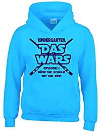 KINDERGARTEN DAS WARS Episode 2 - Sweatshirt mit Kapuze Hoodie zur Einschulung Schulanfang Gr. 122 / 128 cm, 134/146 cm, 152/164 cm