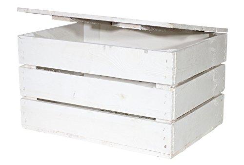 Neue Holztruhe weiß *klein* - shabby chic look - Truhe aus Holz Holzkisten mit Deckel Aufbewahrungskiste Kiste Schatzkiste Spielzeugkiste 48x36x28cm
