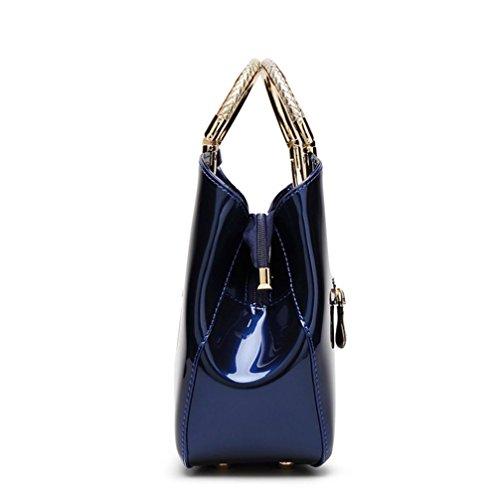YANX delle donne eleganti di Shell forma di design Borse Tote Sera borsa (28 * 10.5 * 22 centimetri) , black Crimson