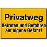 INDIGOS UG - Privatweg - Betreten und Befahren auf eigene Gefahr!, Alu-Dibond, Gr. 30x20 cm - Warnung - Sicherheit - Hotel, Firma, Haus