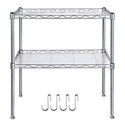 Homfa Küchenregal Mikrowellenhalter Standregal Küchenschrank 2 Ablage Kohlenstoff Stahl mit 4 Haken 54x34x58cm (1)
